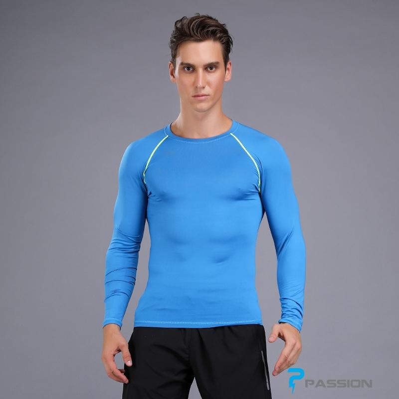 Áo bó body tập gym nam dài tay A108 (màu xanh)