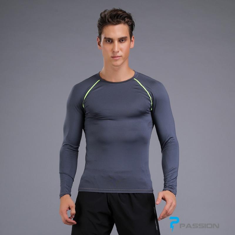 Áo bó body tập gym nam dài tay A108 (màu ghi)