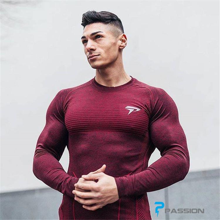 Áo tập gym nam dài tay Physiq Apparel A104 màu đỏ