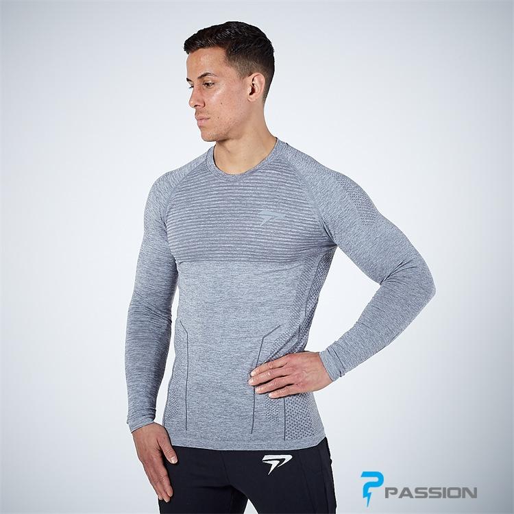 Áo tập gym nam dài tay Physiq Apparel A104 màu xám
