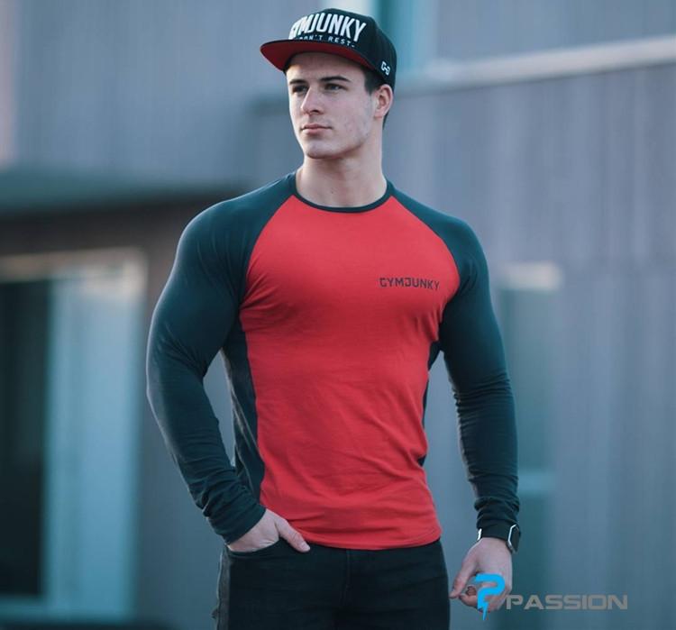 Áo tập gym nam Gym Junky dài tay A64 màu đỏ