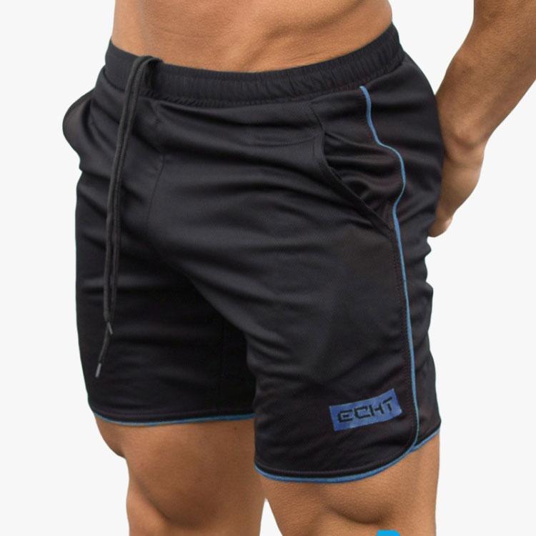 Quần đùi tập gym nam ECHT Z26 đen xọc xanh