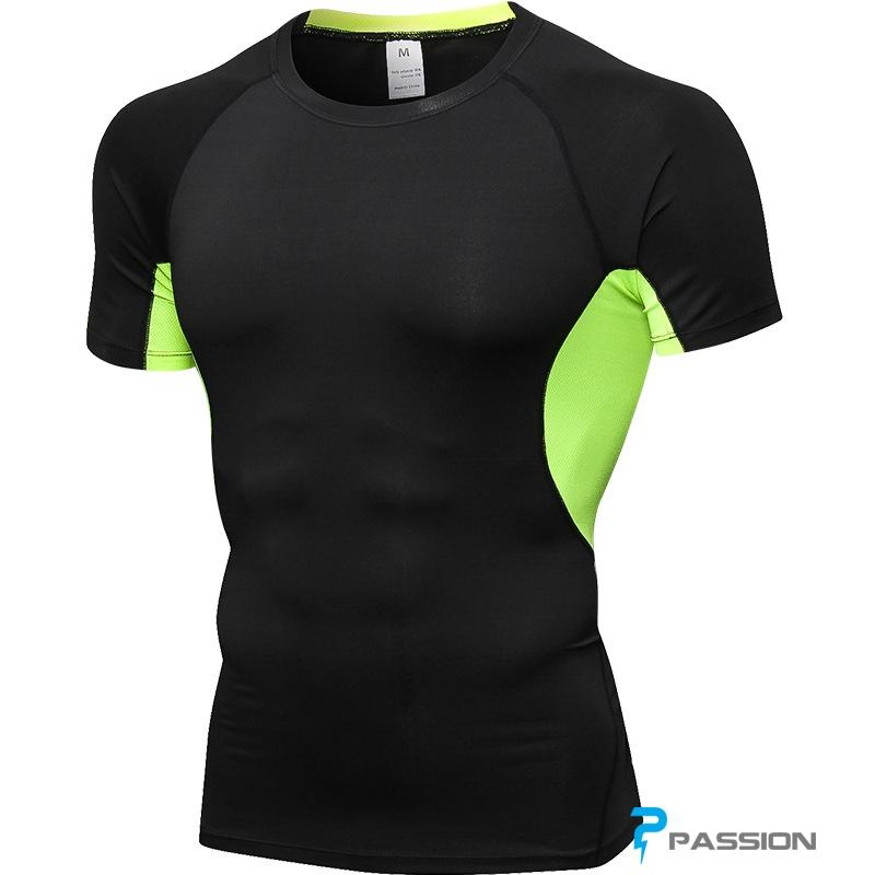 Áo gym nam ngắn tay đẹp tại TP HCM A301 (đen xanh)