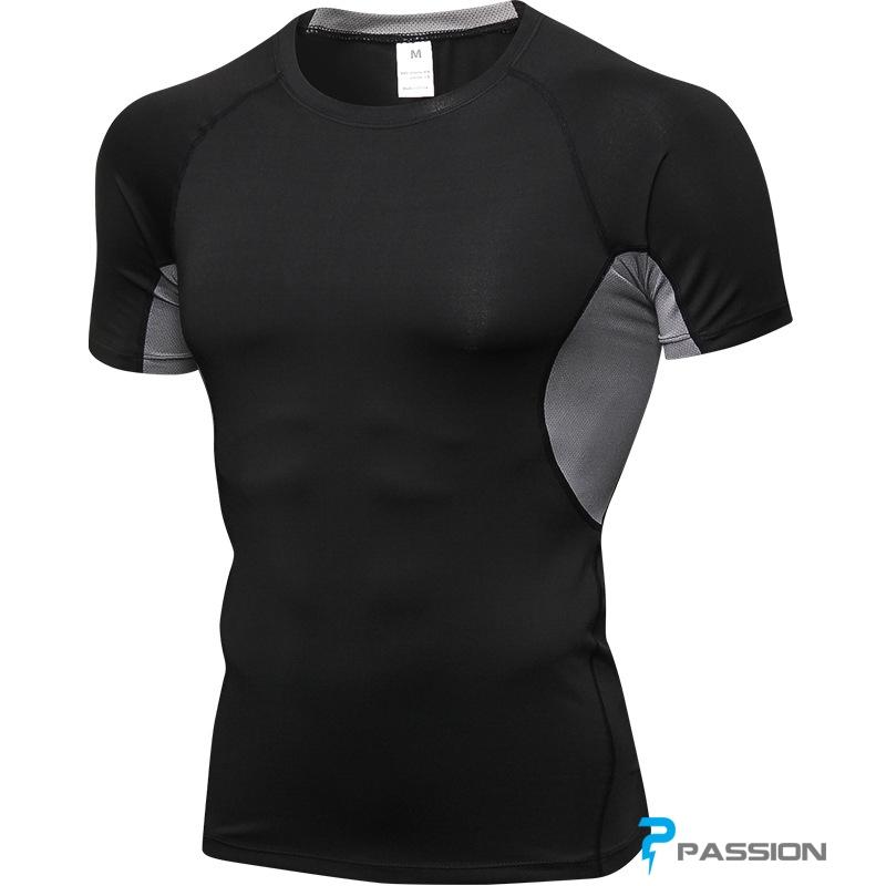 Áo gym nam ôm body đẹp và chất lượng TP HCM A301 (đen xám)