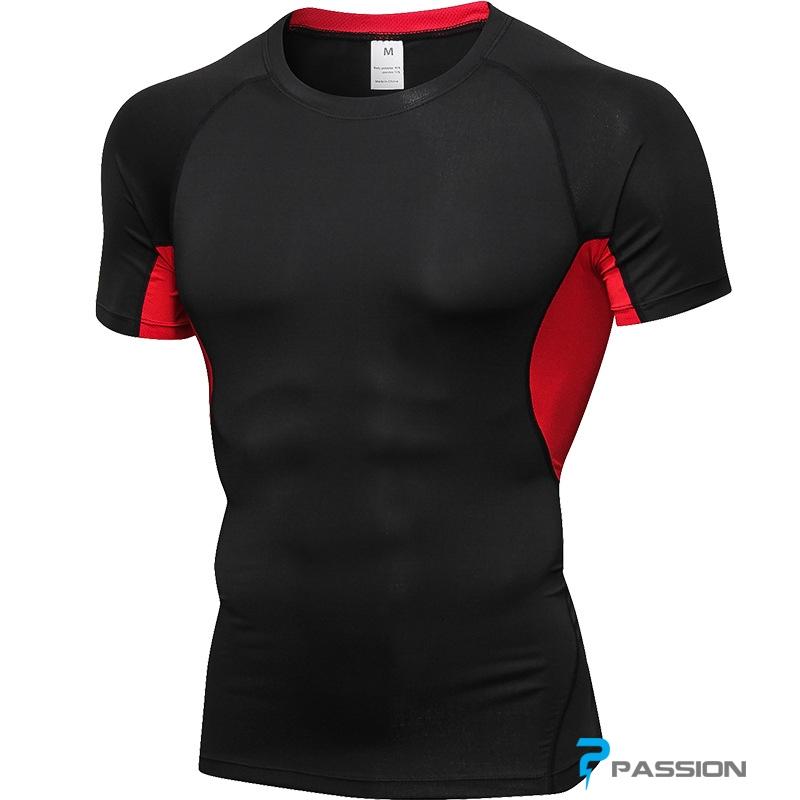 Áo tập gym nam chất lượng giá tốt tại HCM A301 (đen đỏ)