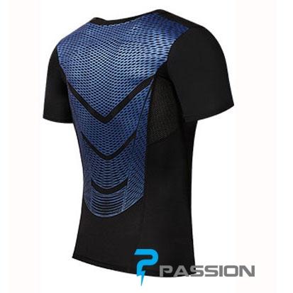 Áo body tập gym nam combat tay ngắn A83 (đen sọc xanh)