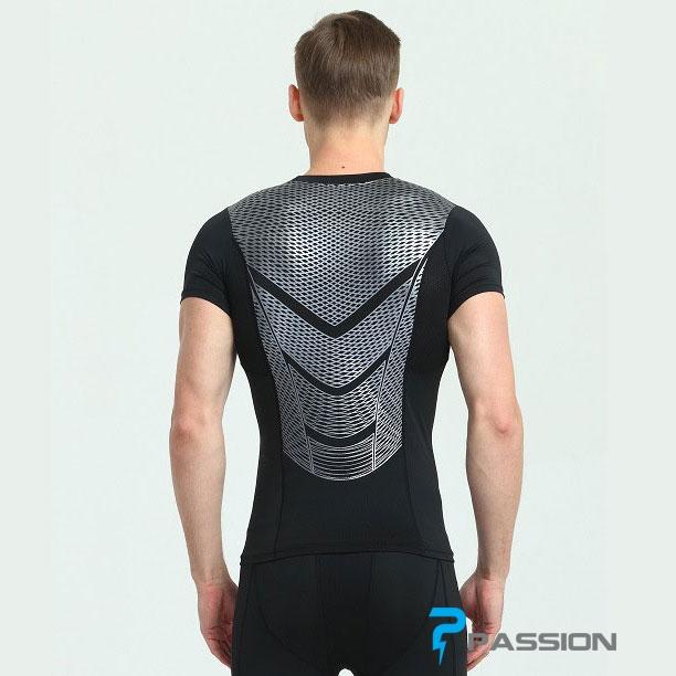Áo body tập gym nam combat tay ngắn A83 (đen sọc xám)