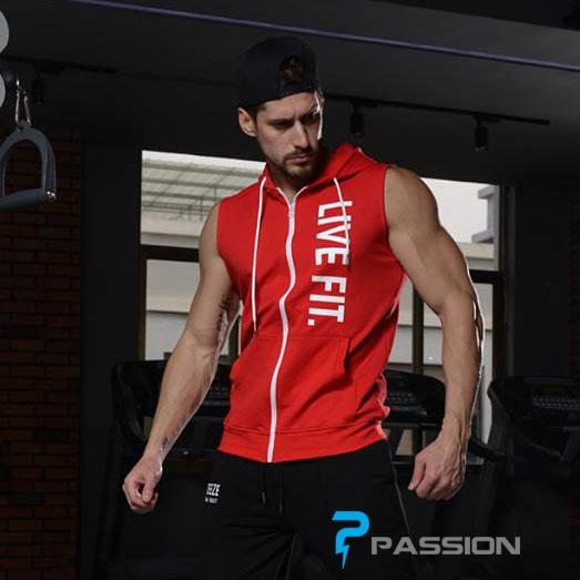Áo khoác tập gym cộc tay có mũ hoodie tank Live Fit A118 (màu đỏ)