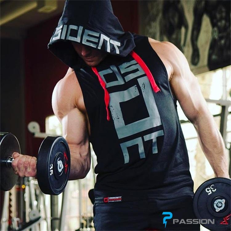 Áo tập gym ba lỗ có mũ Hoodie Tank Dissident A119 (màu đen)