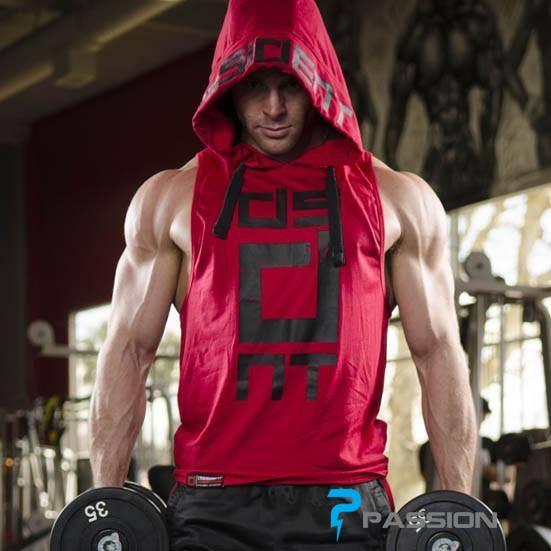 Áo tập gym ba lỗ có mũ Hoodie Tank Dissident A119 (màu đỏ)
