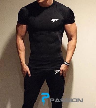 Áo thun body tập gym cho nam Physiq đen A19