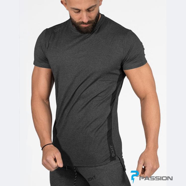 Áo thun tập gym nam ECHT vải co dãn thoáng khí A70 (màu xám)