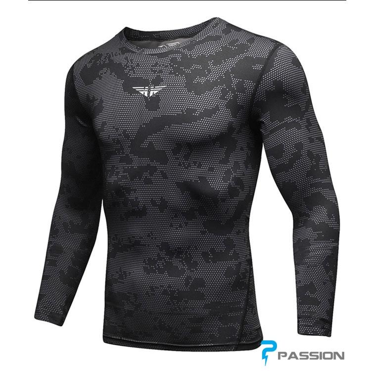 Áo thun tập gym nam tay dài Uabrav camo A111 (đen)