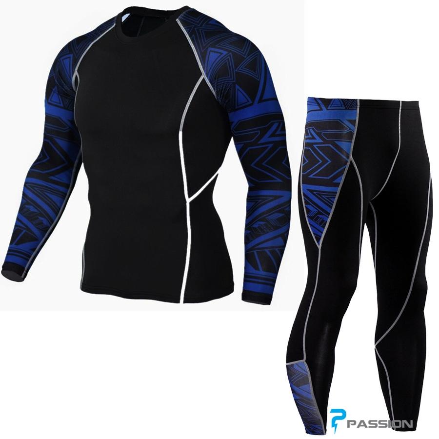 Bộ quần áo legging tập gym nam cao cấp viền xanh A62