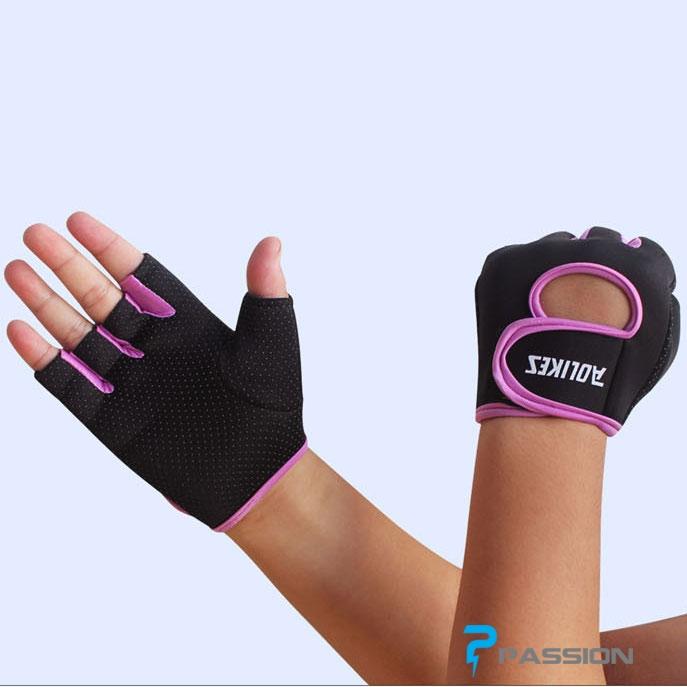 Găng tay tập tạ nam nữ AOLIKES G04 đen viền hồng