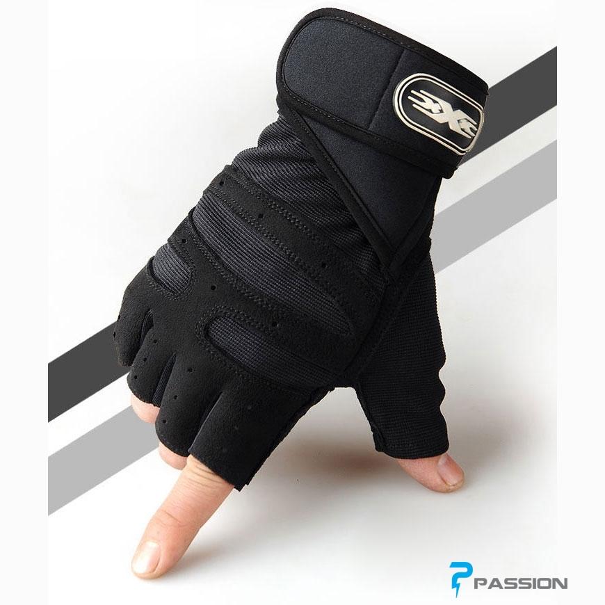 Găng tay tập tạ nam nữ cao cấp có đai cuốn G02 (màu đen)