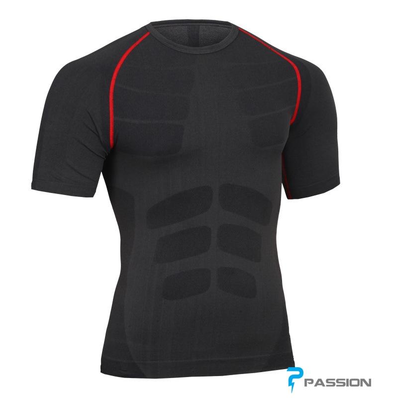 Áo bó body tập gym nam ngắn tay A23 (xám sọc đỏ)