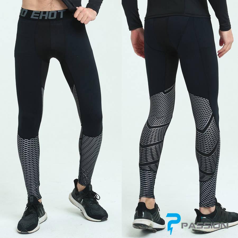 Quần legging nam tập gym cao cấp Z84 đen sọc xám