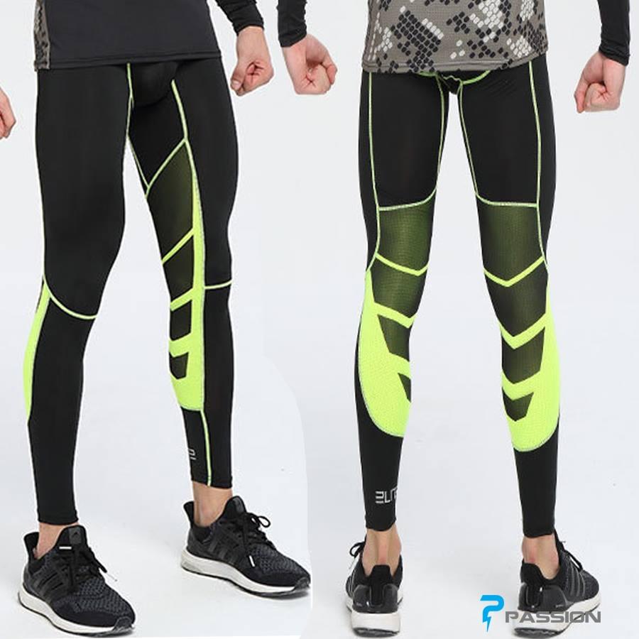 Quần legging tập gym nam cao cấp pro combat Z57 (màu đen sọc vàng)