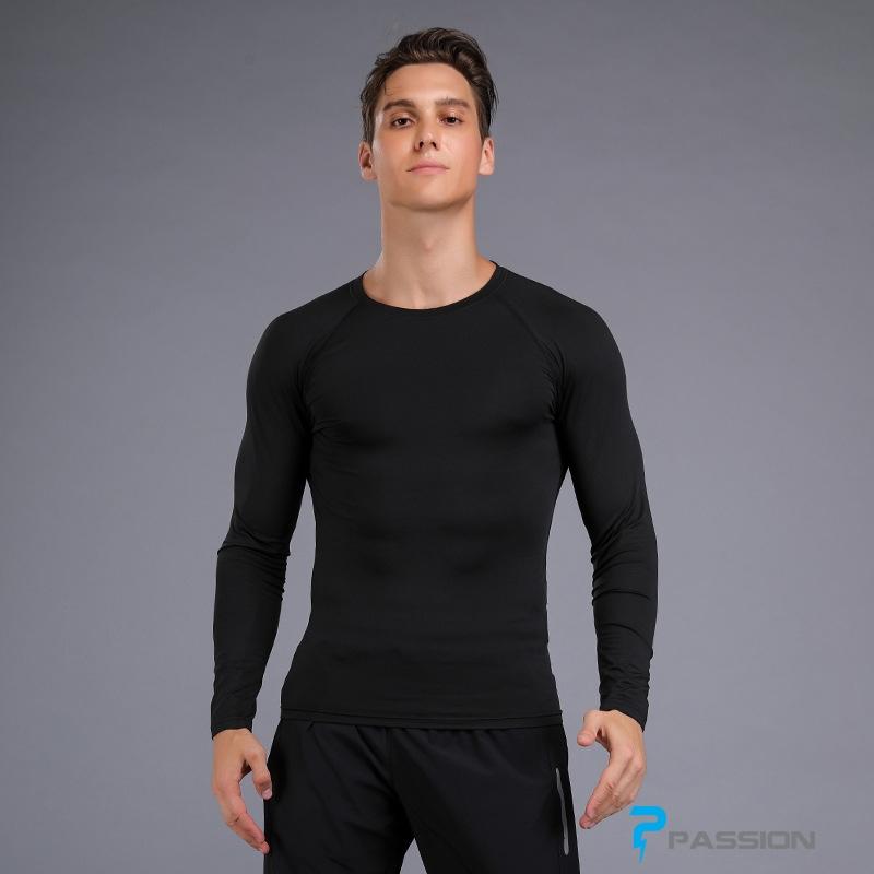 Áo bó body tập gym nam dài tay A108 (màu đen)