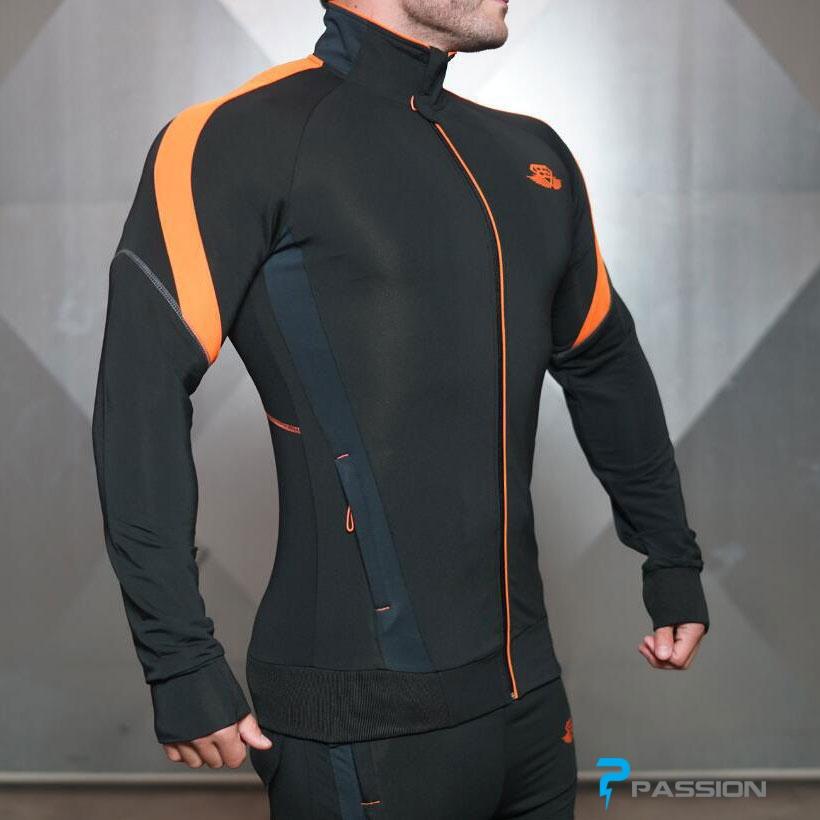 Áo khoác tập gym nam Body Engineers A302 (đen cam)