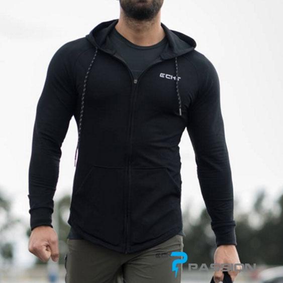 Áo khoác tập gym nam đẹp ECHT A308 (màu đen)