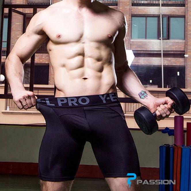 Quần legging nam ngắn tập gym YEL PRO Z128 (màu đen)