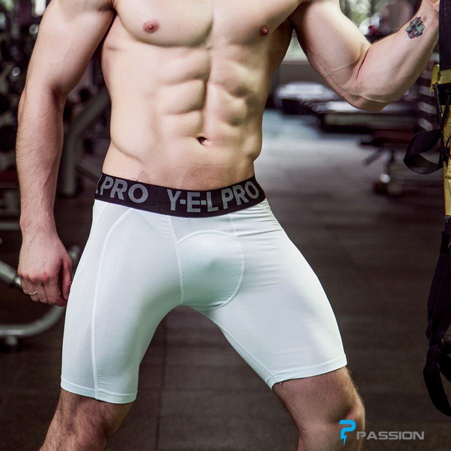 Quần legging nam ngắn tập gym YEL PRO Z128 (màu trắng)