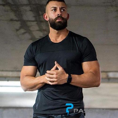 Áo tập gym nam tay ngắn form suông A316 màu đen