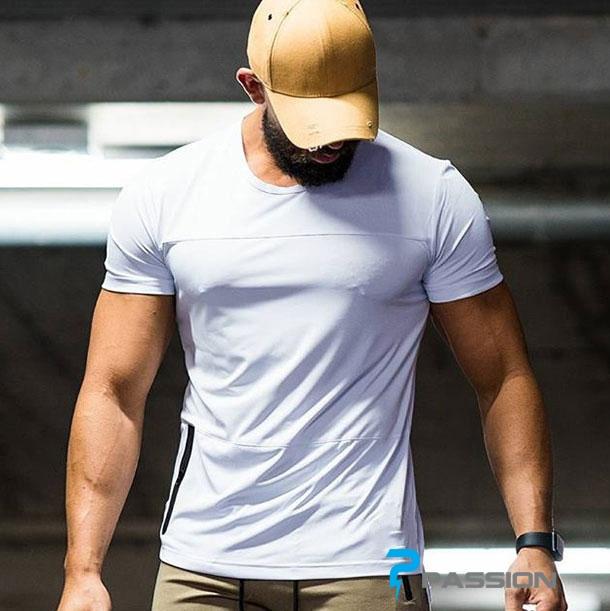 Áo tập gym nam tay ngắn form suông A316 màu trắng