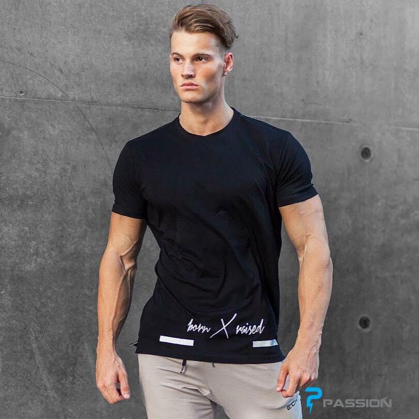 Áo thun tập gym nam tay ngắn form rộng A315 màu đen