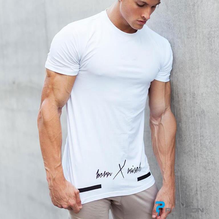 Áo thun tập gym nam tay ngắn form rộng A315 màu trắng