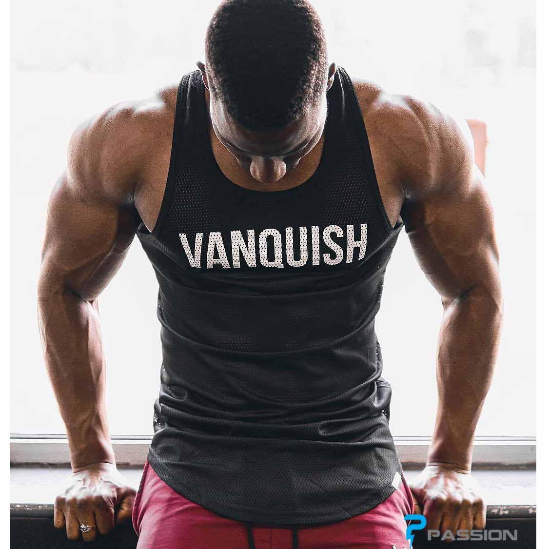 Áo thun ba lỗ tập gym nam Vanquish A317 màu đen