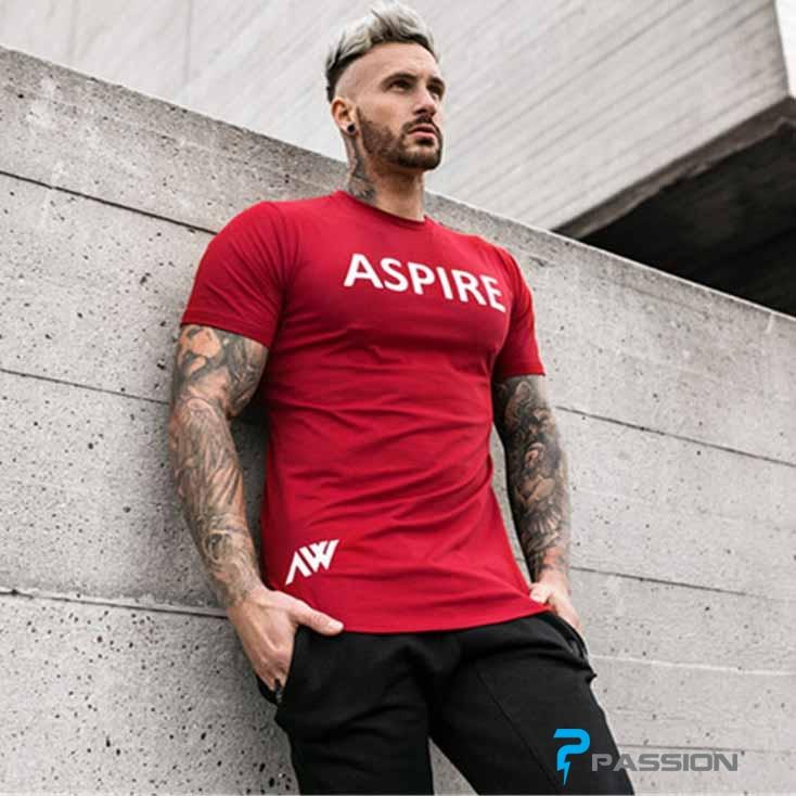 Áo body tập gym nam Aspire A323 màu đỏ