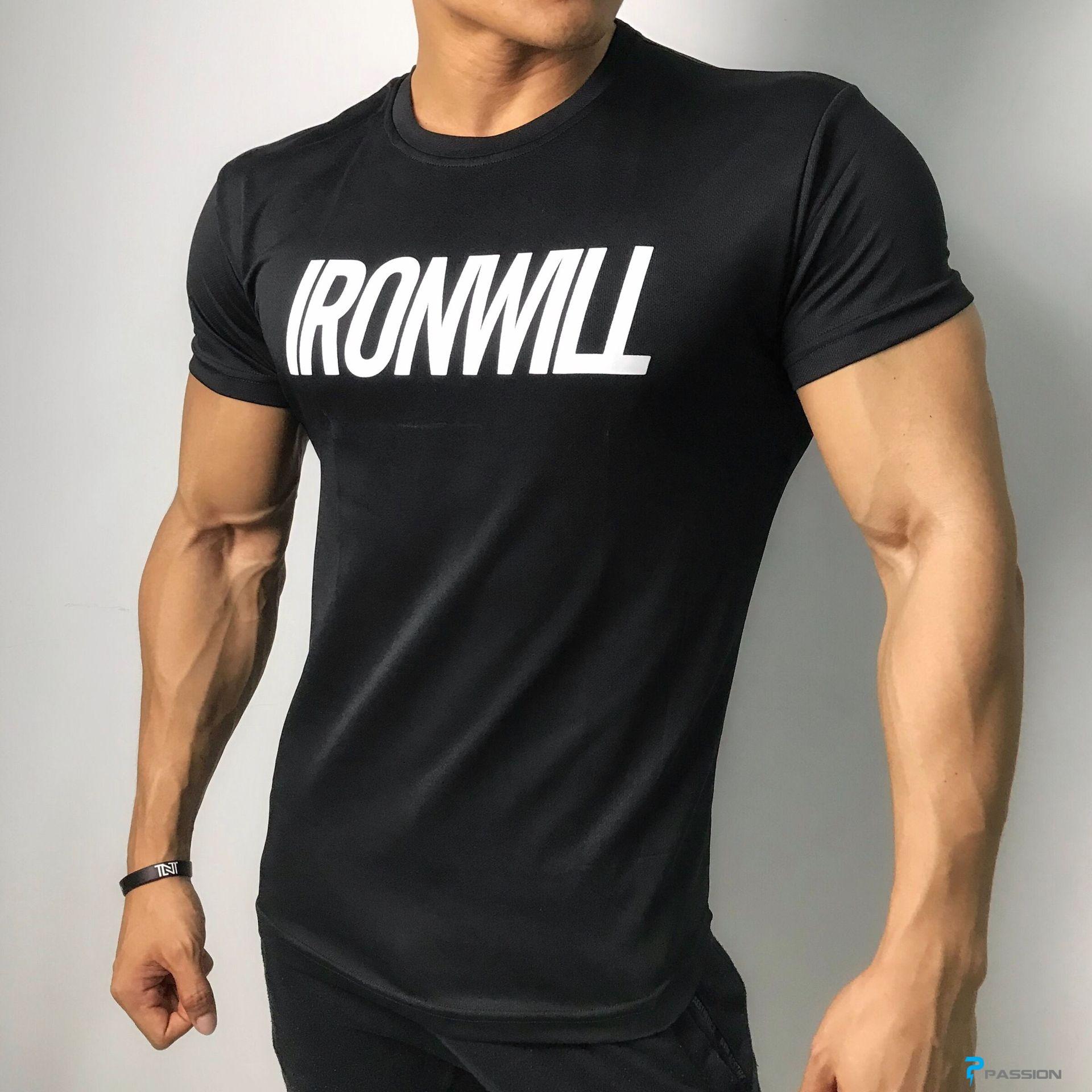 Áo tập gym nam tay ngắn Ironwill màu đen A331