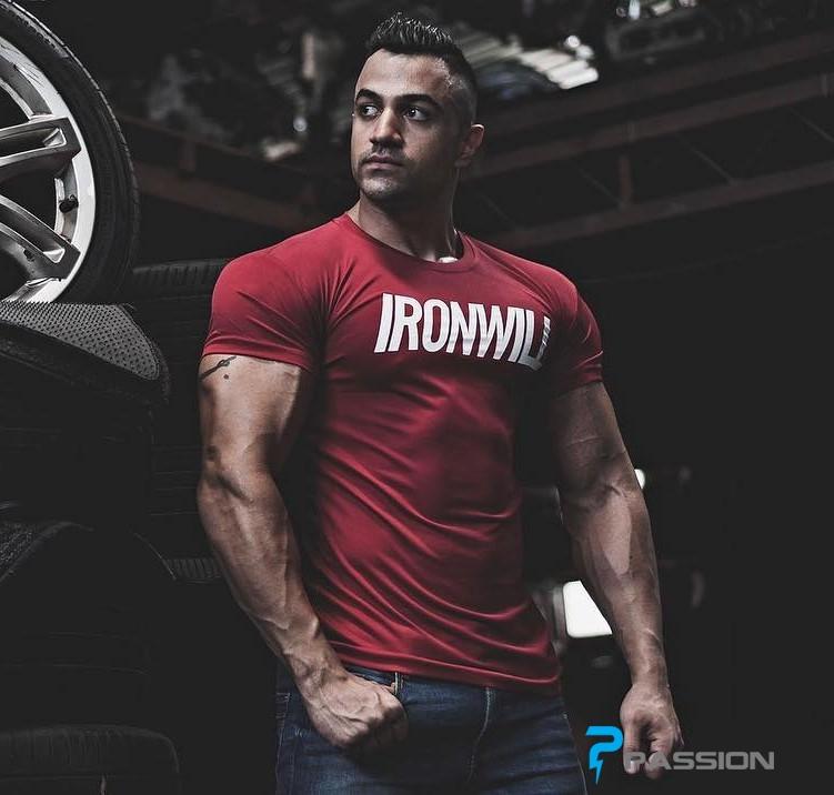 Áo tập gym nam tay ngắn Ironwill màu đỏ A331
