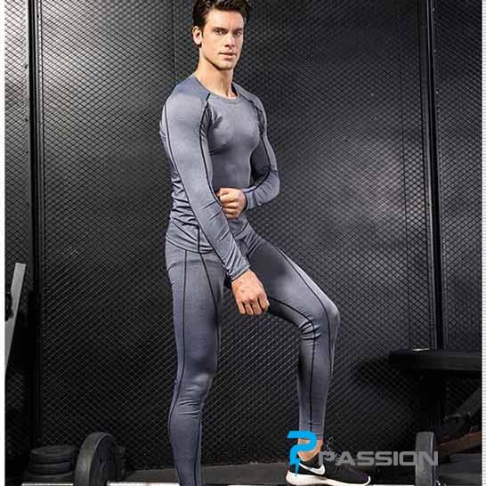 Combo bộ quần áo legging tập gym nam CB05 xám