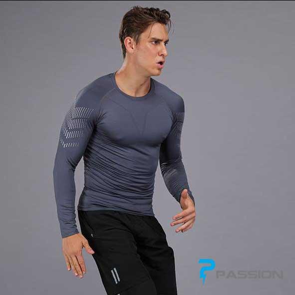 Áo body dài tay tập gym nam A337 xám