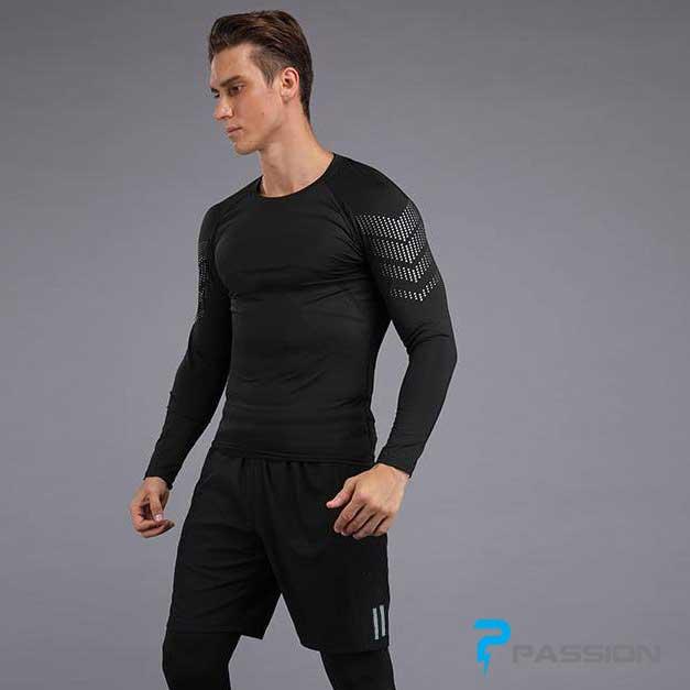 Áo body dài tay tập gym nam A337 đen