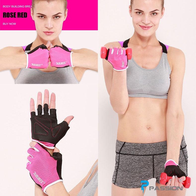 Găng tay tập gym nữ Aolike PK60 hồng