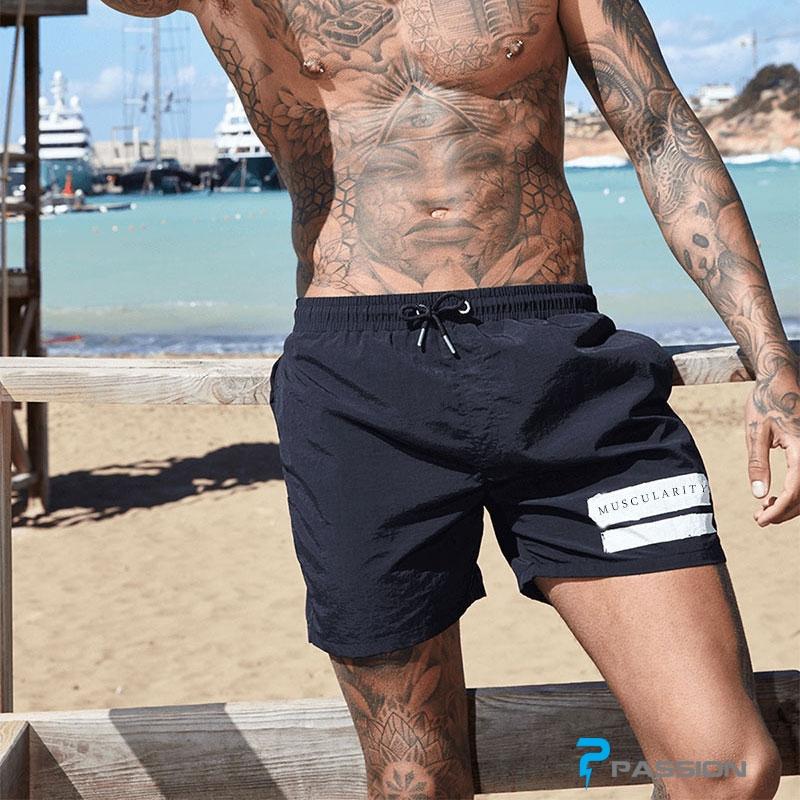 Quần đùi tập gym, quần đi biển nam Z149 đen