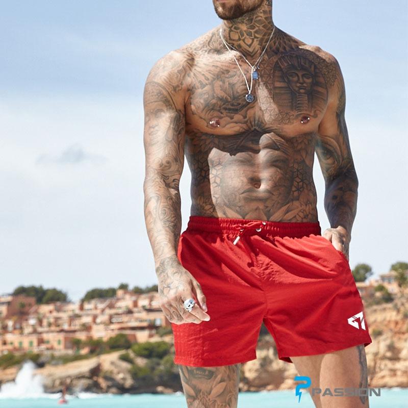 Quần đùi tập gym, quần đi biển nam Z149 đỏ