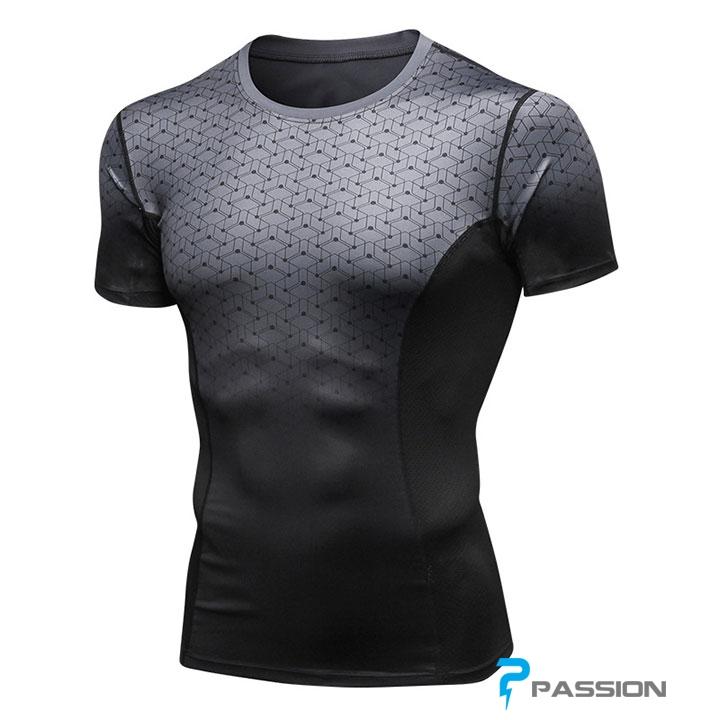 Áo body tập gym nam A355 màu xám đen